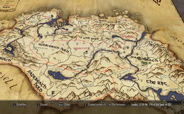 上古卷轴5:天际羊皮纸大地图mod