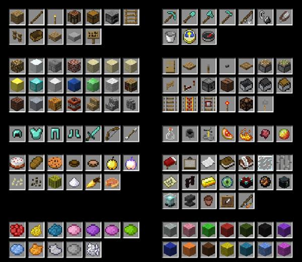 胡萝卜钓竿,信标,南瓜派,花盆,铁砧,展示框,末影箱等,随即合成表也有图片