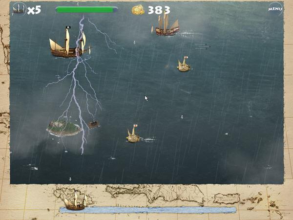 其实横版的射击游戏我们玩过不少,有飞机主角的,还有英雄主角的,这回我们将玩上这款帆船为主角的射击游戏。游戏中玩家扮演的是一名名叫罗杰的海盗,驾驶他的战船,克服恶劣的天气,尽情的跟敌人战斗吧!,消灭敌人获得积分用来升级自己的战船,游戏目的就是不断寻求更多的敌人并且消灭他们,找出臭名昭著的摩根船长。