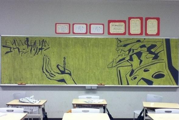 逆天的黑板报来了; 以前的黑板报弱爆了…黄色粉笔