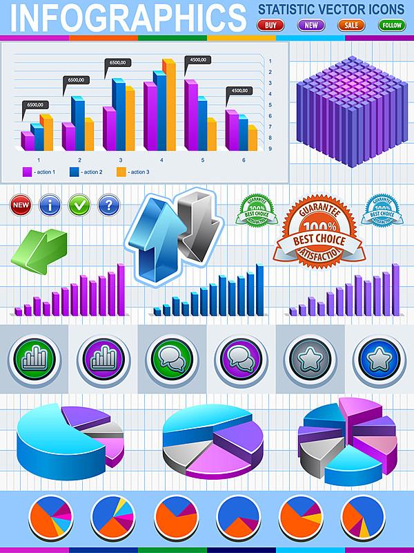 图像处理 → 信息统计图标矢量素材   矢量图的特点 矢量图形具有独立