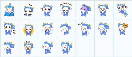 由洛克王国明星宠物迪莫制作而成的表情,迪莫是一直非常可爱的蓝色
