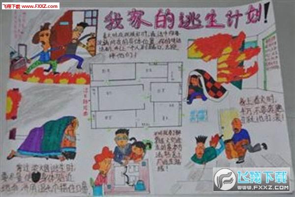 2018中小学寒假消防安全手绘图片大全