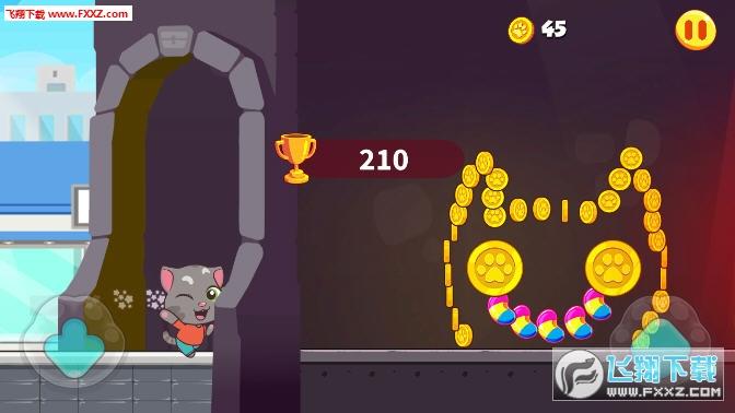 尽量把路上的金币和糖果都收入囊中 游戏特点: —可爱的汤姆猫家族 —