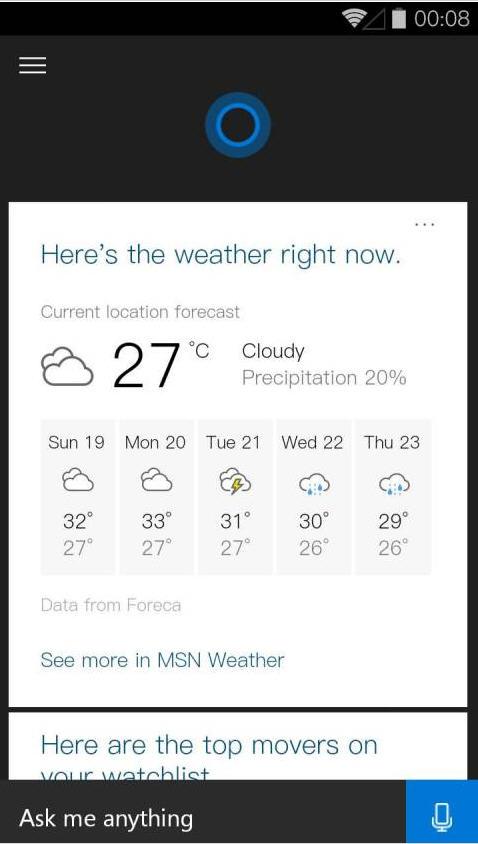 微软小娜安卓版(Cortana)v1.0.200 中文版截图0